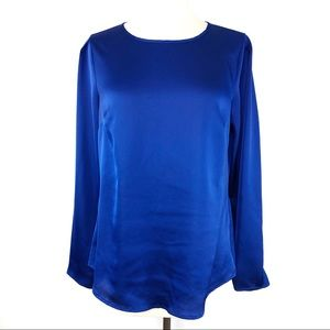 Blue Silk Blouse With Back & Sleeve Buttons